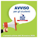Avviso per gli Studenti – Comunicazione del 10 marzo 2020